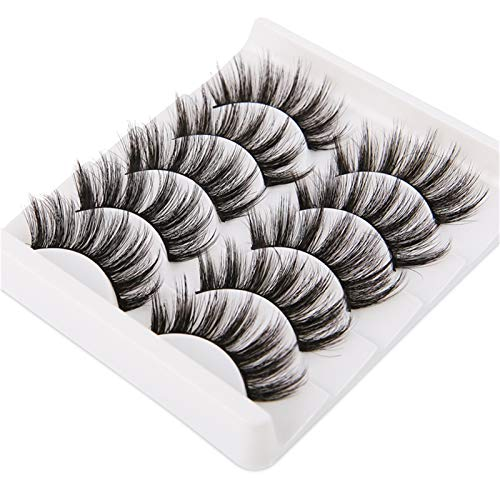XUNUO 5 Pairs Of 3D Artificial Soft Eyelashes, With Fluffy Long Eyelashes, Handmade Mascara Extension Tools (Color : B)