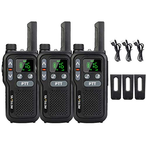 Retevis RB618 Walkie Talkie, PMR446 sin Licencia 16 Canales, Doble PTT LED linterna, Walkie Talkie Recargable, Manos Libres VOX, Mini Walkie-Talkie (3 Piezas, Negro)