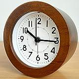 3 inch Analog Alarm Clock,Wooden Clocks Super Silent Battery Operated Bedside Desk Table Gift Clock