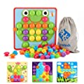 Fansteck Button Art Educational Toys for Toddlers, Color Matching Toddler Arts and Crafts, Include 24 Pictures and 50 Buttons with a Storage Bag, Ideal Birthday for Age of 3 4 5 6 from SHENZHEN ANNAHAI TECHNOLOGY CO.,LTD