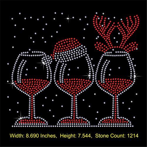 TShirt Showroom Kerstmis Wijn Glas Antlers Strass Diamante Hotfix IJzer op Transfer Motief Applique