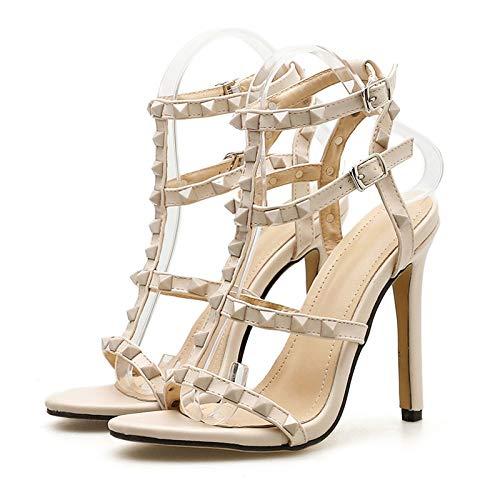 XTQCBQL Sommer Frauen 11 cm High Heels Cross Strap Nieten Heels Sandalen Weibliche Schuhe Lady Red Studded Pumps