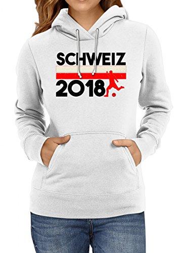 Shirt Happenz Schweiz Weltmeisterschaft 2018#18 Premium Hoodie Fan Trikot Fußball WM Nationalmannschaft Frauen Kapuzenpullover, Farbe:Weiß;Größe:L