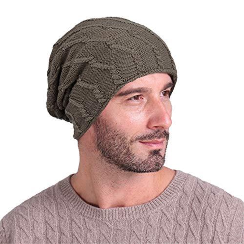 Toamen - Hiver Essentiel - Hommes Classique Couleur Unie Étendue Turban Chapeau La Laine Tricot Cheveux Perte Tête Écharpe Emballage(A-04)