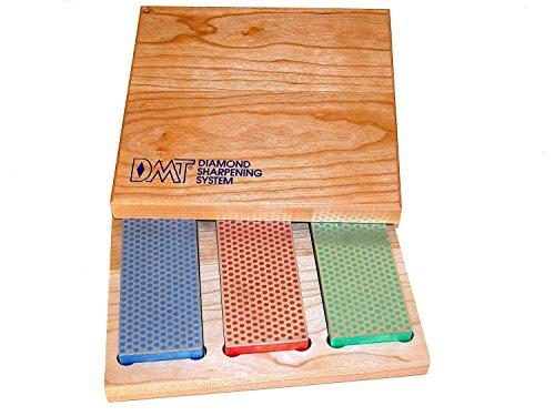 DMT de Bench Diamant Stone Kit, en boîte en bois, bleu/gros, rouge/Fine, vert/Extra Fine