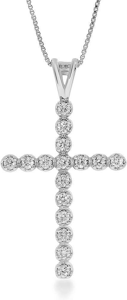 La Joya 1 6-1 2 CT TW Grown Be super welcome Women Max 51% OFF For Lab Necklace Cross Diamond