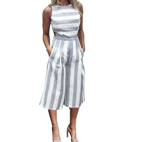 ea5f4a4c81c RAISINGTOP Women Sleeveless Striped Jumpsuit Casual Clubwear Wide Leg Romper  Long Pants Casual Loose