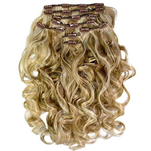Hair2Heart Extension à Clipser Bouclées Synthétiques 13-16 Blond Striée 60 cm 8 Pièces