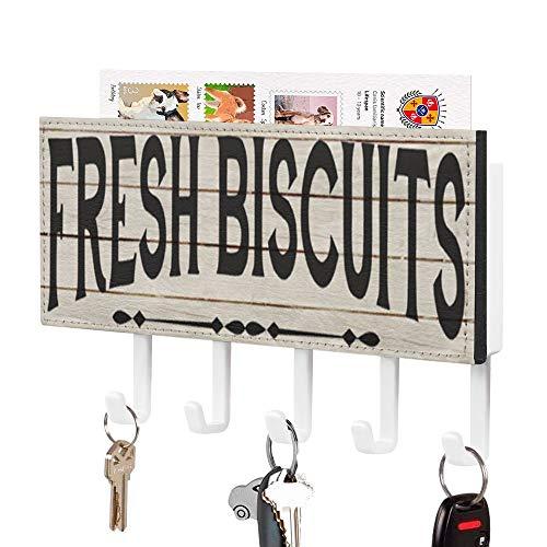 Soporte para llaves y correo, para cocina, diseño de casa de campo, con 5 ganchos y otro estante de almacenamiento, organizador de llaves y clasificador de cartas para entrada, cocina, M