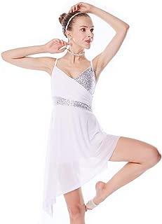 Latin Dance Costume V-Neck Sequined High-Low Lyrical Dress for Girls
