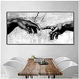 NOBRAND Cuadro en Lienzo Impresión en Blanco y Negro de la Mano de Dios Creación de Adán Pintura en Canavs Decoración del hogar Arte de la Pared Pintura 80x160cm (31.5x63 Pulgadas) Sin Marco