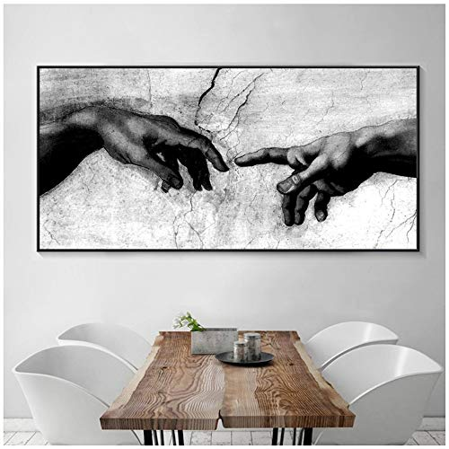 nobrand Leinwand Kunstdruck Schwarz-Weiß Hand Gottes Schöpfung von Adam Gemälde auf Canavs Home Decoration Wandkunst Gemälde 50x100cm (19.7x39.4 Zoll) Kein Rahmen
