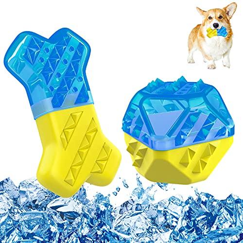 Pawaboo Juguete Molar Multifuncional para Mascota, Juguo de Refrigeración en Verano para Morder, Resistentes Juguetes Interactivos para Cachorro de Perros Pequeños Medianos - Azul y Amarillo