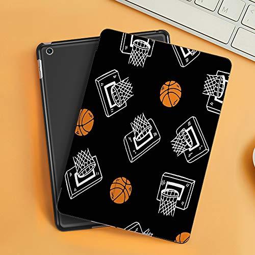 Funda iPad 10.2 Inch 2018/2019,Patrón de Deporte de Baloncesto,Cubierta Trasera Delgada Smart Auto Wake/Sleep