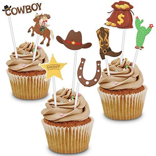 Amosfun 72 piezas toppers de pastel de vaquero occidental botas de sombrero de vaquero de dibujos animados lindo pastel postre fruta selecciones decoración suministros de fiesta occidental