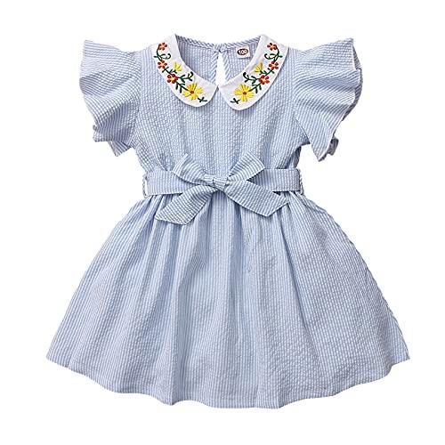 ChouZZ Vestido de verano para niñas pequeñas y niñas, color sólido, manga con volantes, botón trasero, azul claro, 3-4 Años