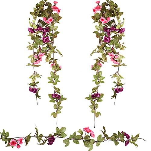 HAMOOM 2 * 120cm Flores Artificiales Bodas Decoracion Vintage Guirnalda de Rosa...