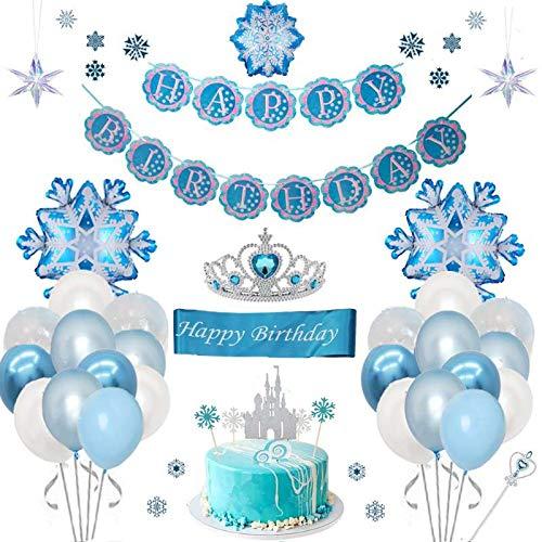 Frozen ELSA Party Geburtstag Deko Blau Cupcake Topper Geburtstagsbanner Tiara Zauberstab für Kinder Mädchen Eiskönigin ELSA Schneeflocke Geburtstagsfeier Kindergeburtstag Deko Partei Hintergrunden