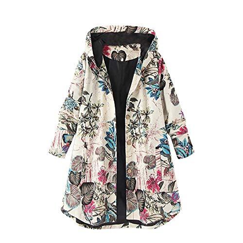 NOKMOPO Women Fashion Hoodies Fur Shearling Jacket Retro Printing Splicing Zipper Hood Cardigan Long Sleeves Coat D-White