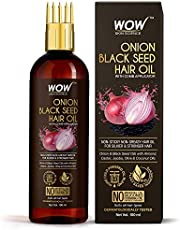 WOW Skin Science Onion Oil - Black Seed Onion Hair Oil - WITH COMB APPLICATOR - Controls Hair Fall - NO Mineral Oil, Silicones, Cooking Oil & Synthetic Fragrance - 100 ml