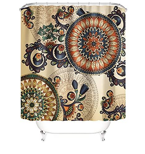 MundW DAS DESIGN Duschvorhang Mandala Retro Orientalisch Pflanzen Boho Textil Blumen Vorhang Schimmelresistent beige Blätter Kreise Flora Farbfest inkl. 12 C-Ringe Gewicht unten 180x200cm(BxH)