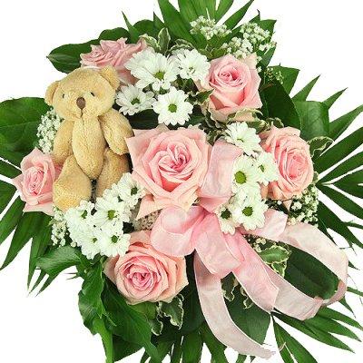 """""""Mädchen"""" Blumenstrauß in rosa, zur Geburt, zum Geburtstag - Blumenstrauß mit rosa Rosen inkl. Teddy!"""