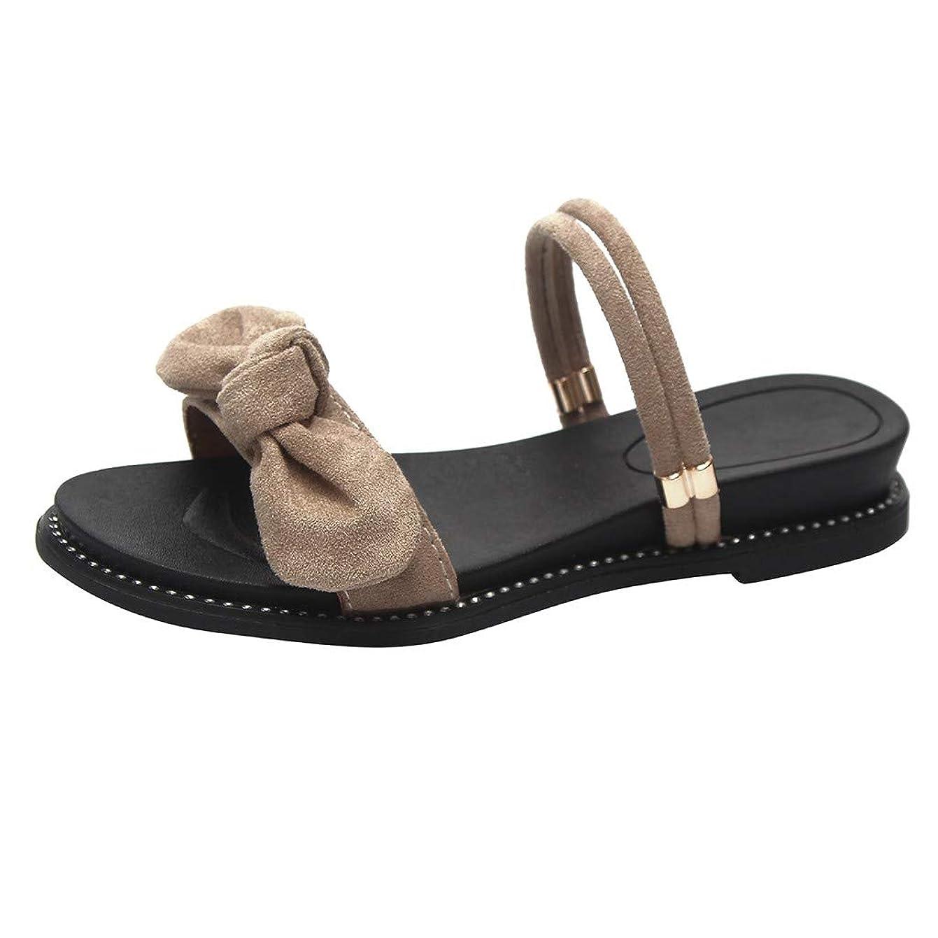 永遠にスイング脱走Expxon Tech 夏 女性 弓 スエード ビーチ スリッパ ローマ風 つま先を開く 平底 サンダル 靴 カジュアルシューズ 日常着用 3cmヒール ローヒール 歩きやすい スリッパ アウトドア 美脚 おしゃれ