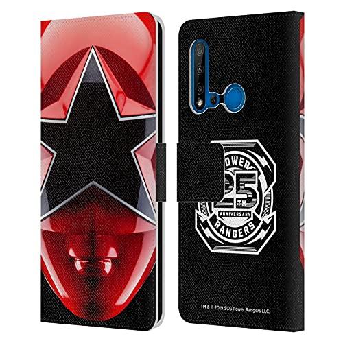 Head Case Designs sous Licence Officielle Power Rangers Rouge Zeo Casque célèbre Coque en Cuir à Portefeuille Compatible avec Huawei P20 Lite (2019)