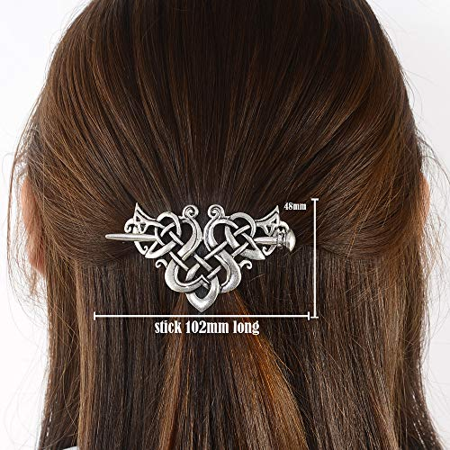 Viking Celtic Hair Clips Hairpin-Wiccan Hair Sticks Ladies Hair Accessories Triangle Clips for Long Hair Slide Pin Irish Hairstick Celtic Knot Viking Jewelry