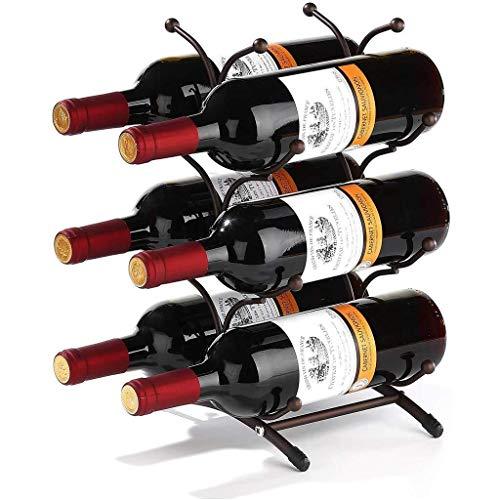 GLYYR Weinregal Weinregal-Arbeitsplatte, Weinhalter Lagerständer, rustikale Holzwein-Display-Regale, ideal für Wohnkultur & Küchenlager, Bar, Keller, Kabine (6 Weinflaschen) (Color : Bronze)
