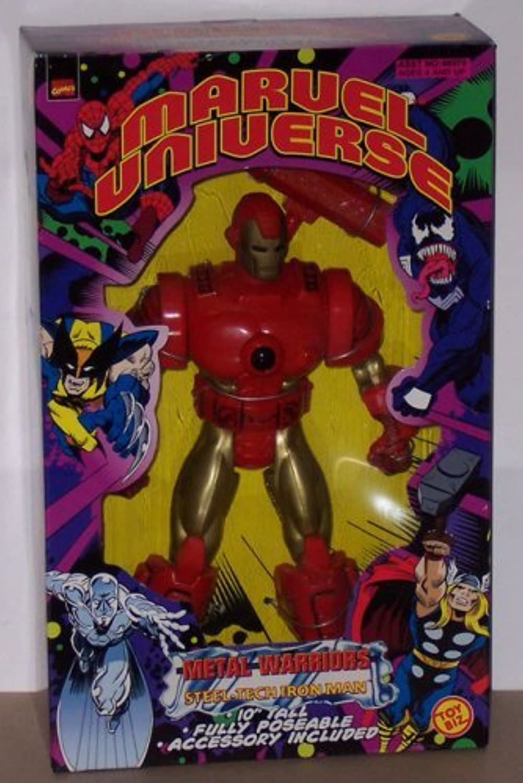 25cm SteelTech Iron Man Action Figure  1998 Marvel Universe Metal Warriors Series