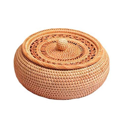 WLD Bread Fruit Basket,Rattan Fruit Basket, Pure Hand Bread Basket, Storage Basket, Hotel Creative Fruit Plate, for Travel and Home,Brown