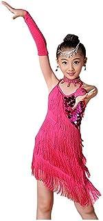 Vestido de baile de las niñas, Niños Niñas Brillante Lentejuelas Borla Bailando Rumba Salsa Vestido Sin mangas Sin respald...