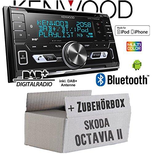 Autoradio Radio Kenwood DPX-7100DAB - 2DIN Bluetooth DAB+ Digitalradio USB CD MP3 Einbauzubehör - Einbauset für Skoda Octavia 2 1Z 2- JUST SOUND best choice for caraudio