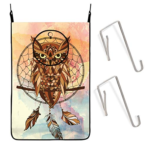 ACHOGI Dream Catcher Owl Hanging Laundry Hamper Bag with Free Adjustable Stainless Steel Door 2 Pcs Suction Cup Hooks, Best Choice for Holding Dirty Clothes and Saving Space