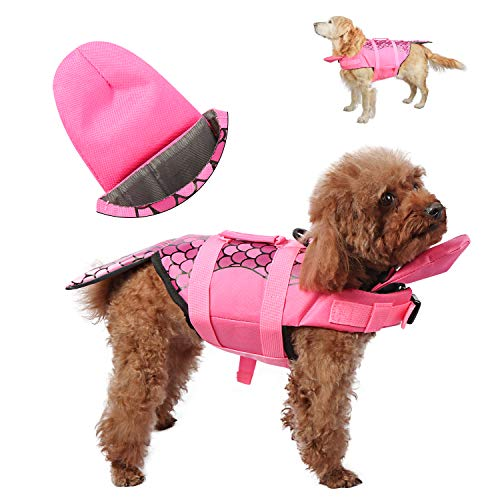 UPXNBOR Dog Life Vests for Swimming Mermaid Dog Swimming Vest with Neck Float Adjustable Life Jackets for Small Medium Large Dogs
