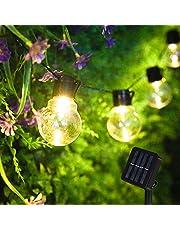 Solcellsljusslinga, utomhus, 3,5 m 10 LED utomhus solcellslampor ljuskedja, 8 lägen vattentät solenergidriven ljuskedja, varm vit trädgård ljuskedja belysning för fest trädgård gård balkong