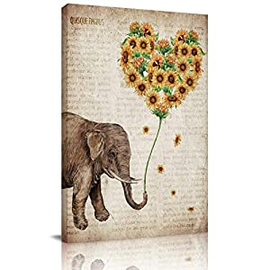 Big buy store Canvas Wall Art Picture Elephant Sunflowers Print On Canvas Giclee Artwork Vintage Newspaper Home Office Decorations Wall Decor Ready to Hang - 12x8 inches