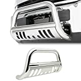 4X4TAG Premium Quality Mirror Polish Stainless Steel Bull Bar Fits Chevy/GMC Trailblazer/Envoy 2002-2009 (Bumper Grille Guard with Skid Plate and Optional Light Holes)