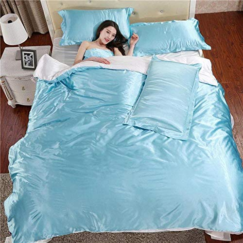 super king size duvet cover sets-Spring and summer double-sided silk thick four-piece solid color simulation silk naked self-pain comfortable anti-wrinkle anti-static gift-T_2.0 bed four pieces