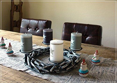Adventskranz aus Treibholz Grau mit vier Kerzen