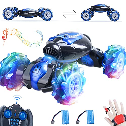 Remote Control Car, 1:12 Scale Large Gesture RC Car, 4WD 2.4G 25KM H Fast Hand Controlled RC Car, All Terrains Double Sides Rotating RC Cars for Boys Age 8-12 with 2 Batteries Cool Light and Music
