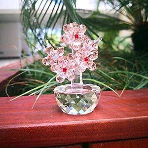 TYGJB Exquisita Ciruela de Cristal K9 Hecha a Mano - Flores - Estatuilla Flor de Vidrio Pisapapeles Sin Defectos Ramo Escultura - Adorno Decoración de Boda