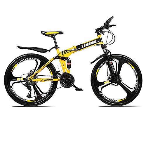 XUELIAIKEE Mountain Bike,Folding Bike Man Mountain Bike 24inch Wheels Carbon Steel Gear Bicycle,21 24 27 30 Speed Dual Suspension Folding Bike with Disc Brakes