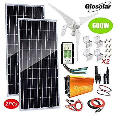 600W Solar & Wind Power Kits Garage Off-Grid System for Charging 12V 24V Battery?400W Wind Turbine Generator + 200W Mono Solar Panel + Hybrid Charge Controller+1000W Inverter+Accessory