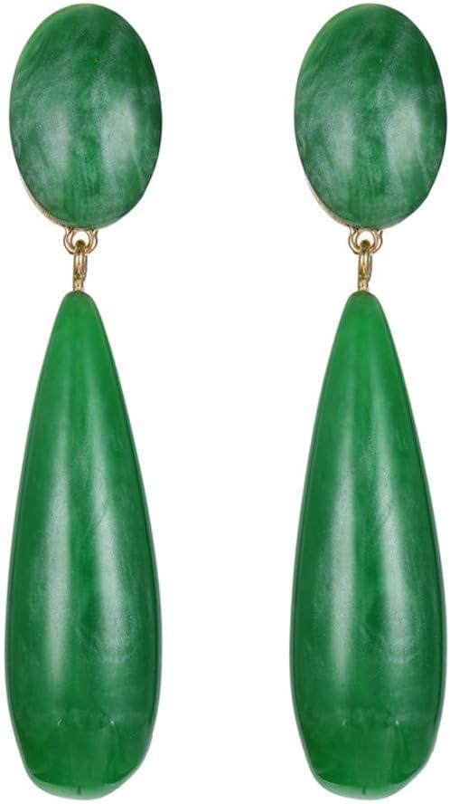 Beach Earrings for Women, Jade Green Resin Clip on Hoop Earrings Statement Chandelier Earrings Jewelry