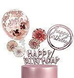 Adorno de pastel de cumpleaños de oro rosa, adorno de cupcake con brillo de feliz cumpleaños, adorno de pastel, adorno de pastel de vela, confeti, globos estrella papel abanico