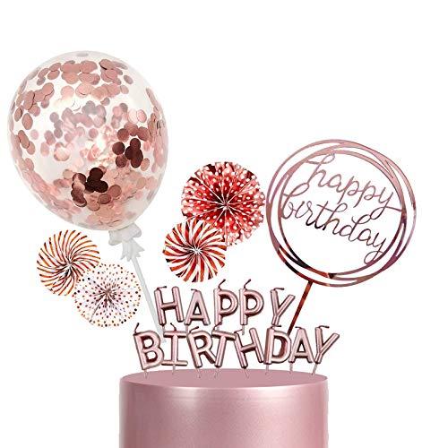 BOYATONG Tortendeko Geburtstag Rosegold, Happy Birthday Cake Topper, Glizter Cupcake Topper, Kuchen Deko mit Kerzen Konfetti Luftballon Sterne und Papierfächer