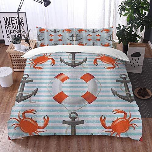 Qinniii 3-Piece Bedding Set,Vita Nautica Anelli Ancora e Corde Granchi oceanici Tema costiero Teal Striped Print,100% Microfibra 1 Copripiumino 200 x 200 cm+ 2 Federa 60 * 80 cm
