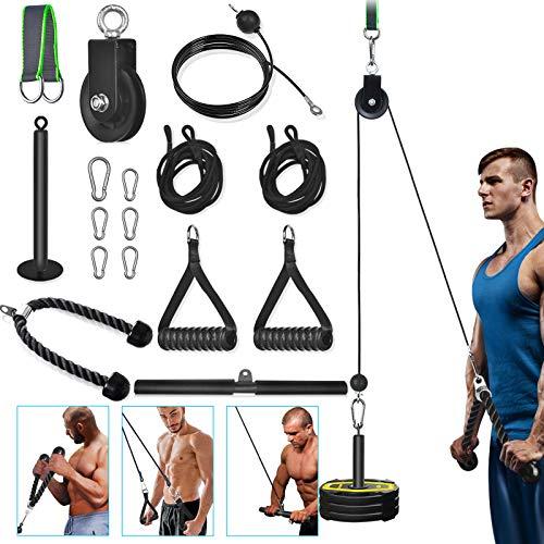 3 in 1 Seilzug Fitness für Unterarm Training zu Hause, 16 Stück Zubehör des LAT und Lift Flaschen Kabelzug system, DIY Stahl Kabelzug für Trizeps, Bizeps, Locken, Arm, Unterarm, Schulter, Kabelfliege